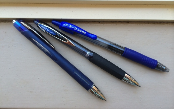 From left: Uni-ball Jetstream, Uni-ball Signo 207, Pilot G-2